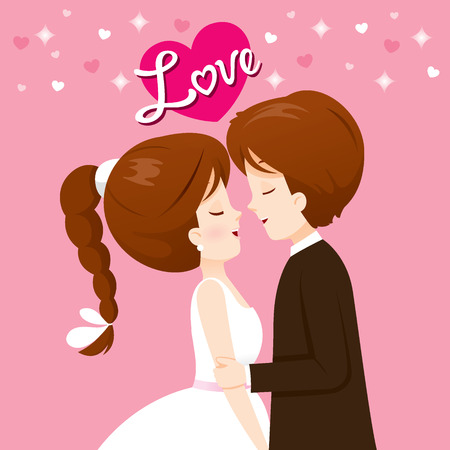 Bride And Groom In Wedding Clothing Will Kiss, Love, Relationship, Sweetheart, Engagement, Valentine's Day