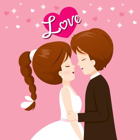 Braut und Bräutigam in Hochzeitskleidung Will Kuss, Liebe, Beziehung, Schatz, Verlobung, Valentinstag