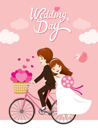 결혼식 초대 카드, 신부, 신랑 타고 자전거, 사랑, 관계, 연인, 약혼, 발렌타인 데이