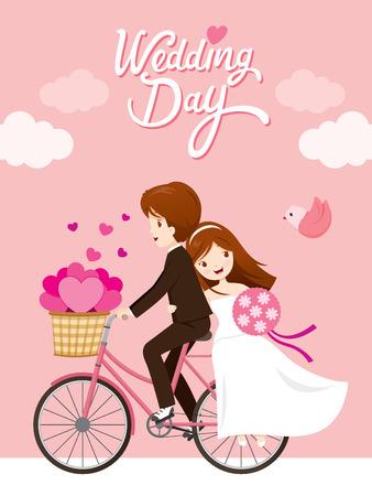 Wedding Invitation Card, Bride, Groom Riding Bicycle, Love, Relationship, Sweetheart, Engagement, Valentine's Day