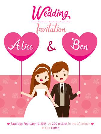 결혼식 초대 카드 템플릿, 신부와 신랑, 사랑, 관계, 연인, 약혼, 발렌타인 데이 일러스트