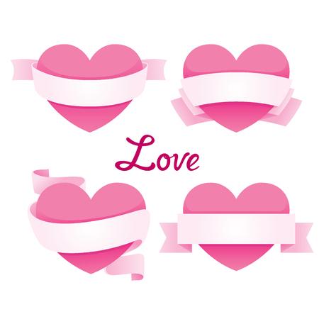 wedding love: Heart With Ribbon Banner Set, Valentine's Day, Love, Wedding, Relationship