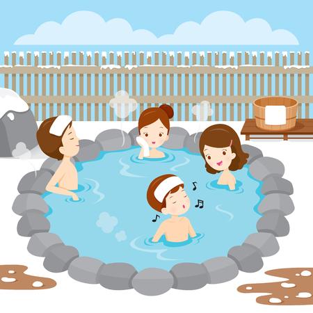 温泉、お風呂、温泉、日本語で家族でリラックス文化、健康、シーズン、体  イラスト・ベクター素材