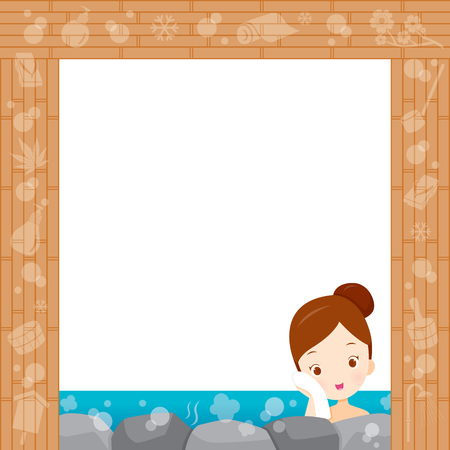 onsen: Girl Relaxing In Hot Spring Border, Bath, Onsen, Japanese, Culture, Healthy, Season, Body