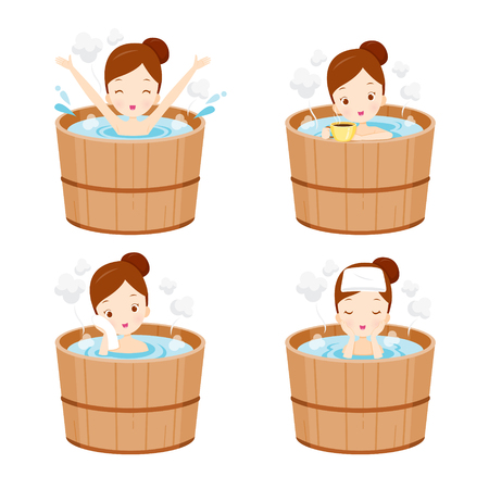 onsen: Girl Relaxing In Hot Spring Bath Set, Onsen, Japanese, Culture, Healthy, Season, Body Illustration