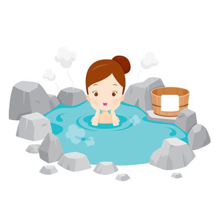 Girl Relaxing In Hot Spring, Bath, Onsen, Japanese, Culture, Healthy, Season, Body