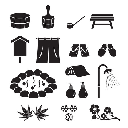 onsen: Hot Spring Objects Icons Set, Monochrome, Bath, Onsen, Japanese, Culture, Healthy, Season, Body