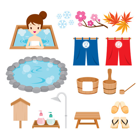 Hot Spring Objects Icons Set, Bath, Onsen, Japanese, Culture, Healthy, Season, Body Vettoriali