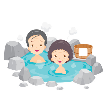 onsen: Old Man And Woman Relaxing In Hot Spring, Bath, Onsen, Japanese, Culture, Healthy, Season, Body