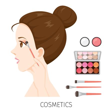 Seitenansicht Frau mit Haare Brötchen Make-up, Lidschatten und Pinsel, Zubehör, Ausrüstung, Schönheit, Gesichtsbehandlung, Mode