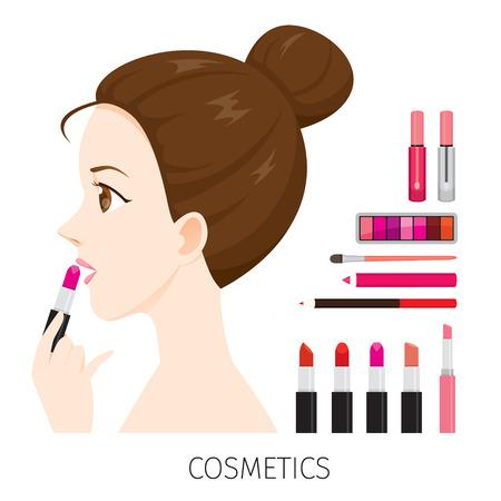 human eye: Side View Woman With Hair Bun Make-Up, Lipsticks Set, Accessories, Equipment, Beauty, Facial, Fashion Illustration