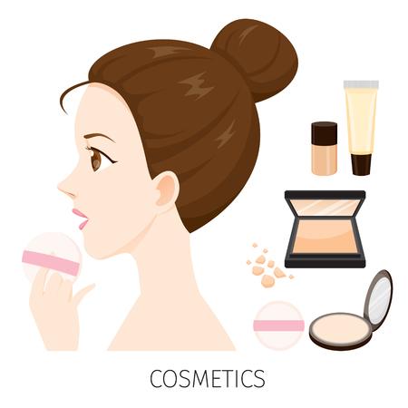 Zijaanzicht Vrouw Met Haar Bun Make-up, Pers Poeder En Stichting, Toebehoren, Uitrusting, Schoonheid, Gezichts, Mode