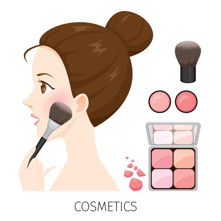 Vista lateral mujer con maquillaje bollo de pelo, colorete y cepillo, accesorios, equipos, belleza, faciales, moda Ilustración de vector