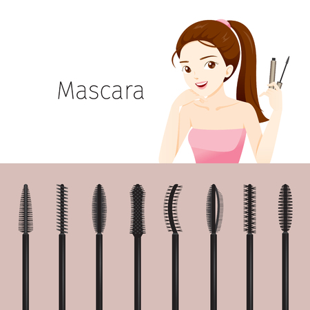 woman accessories: Woman With Mascara Set, Makeup, Accessories, Equipment, Beauty, Facial, Fashion Illustration