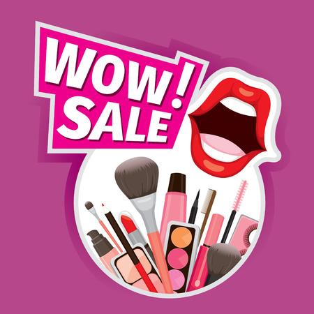 fashion shopping: Wow Sale Cosmetics Banner For Shopping Season, Makeup, Accessories, Equipment, Beauty, Facial, Fashion