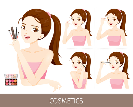 woman accessories: Woman With Step To Apply Eyes Makeup, Accessories, Equipment, Beauty, Facial, Fashion