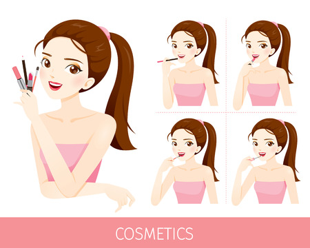 woman accessories: Woman With Step To Apply Lip Makeup, Accessories, Equipment, Beauty, Facial, Fashion Illustration