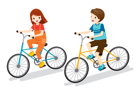 Boy And Girl Riding Bicycle, Bicyclist, Healthy, Vehicle, Sport, Lifestyle