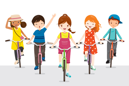 Children Riding Bicycle Together, Bicyclist, Healthy, Vehicle, Sport, Lifestyle