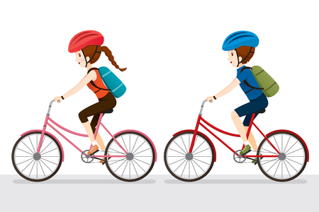 sport woman: Woman And Man Riding Bicycle, Bicyclist, Healthy, Vehicle, Sport, Lifestyle