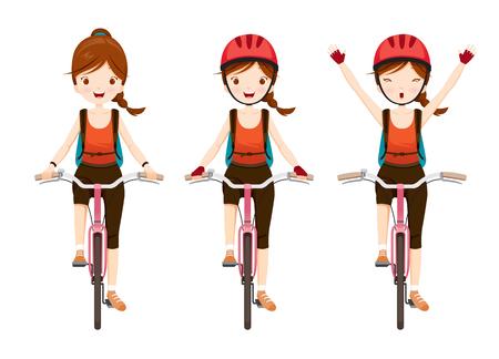 自転車に乗る若い女性セット、自転車、健康、車、スポーツ、ライフ スタイル