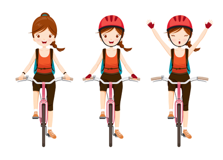 sport woman: Young Woman Riding Bicycle Set, Bicyclist, Healthy, Vehicle, Sport, Lifestyle Illustration
