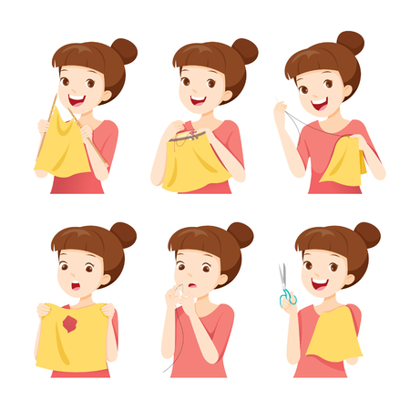 darn: Girl Sewing Clothes By Hand Set, Needlework, Tailor, Handmade, Dressmaking, Housekeeper, Hobby Illustration