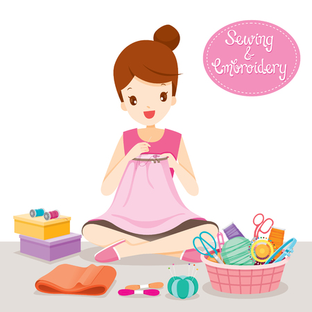 Woman Sewing Clothes By Hand In Embroidery Hoop, Needlework, Tailor, Handmade, Dressmaking, Housekeeper, Hobby, Profession, Occupation Illustration