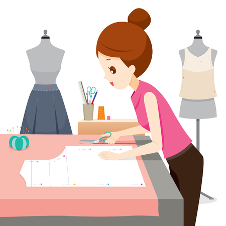 avocation: Woman Making Clothes Pattern, Needlework, Tailor, Handmade, Dressmaking, Housekeeper, Hobby, Profession, Occupation