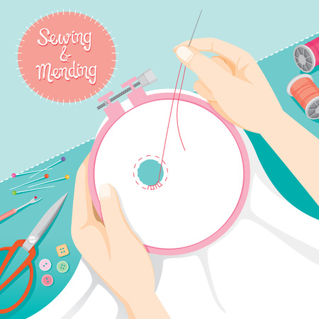 darn: People Hand Darning Clothes In Embroidery Hoop, Needlework, Tailor, Handmade, Dressmaking, Housekeeper, Hobby, Profession, Occupation Illustration