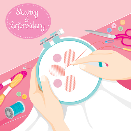 darn: People Hand Sewing Clothes In Embroidery Hoop, Needlework, Tailor, Handmade, Dressmaking, Housekeeper, Hobby, Profession, Occupation