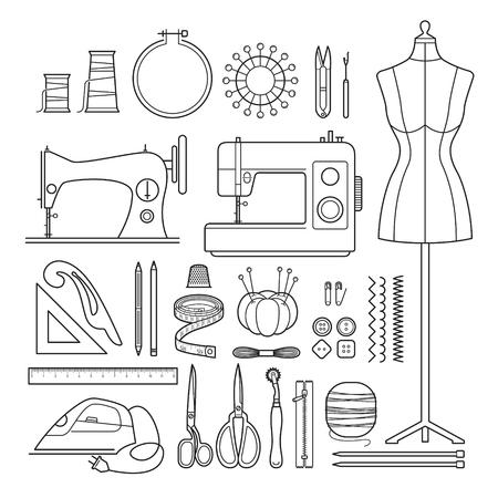 바느질 키트 개요 아이콘 세트, 바느질, 재단사, 수제, 양재, 가정부, 취미
