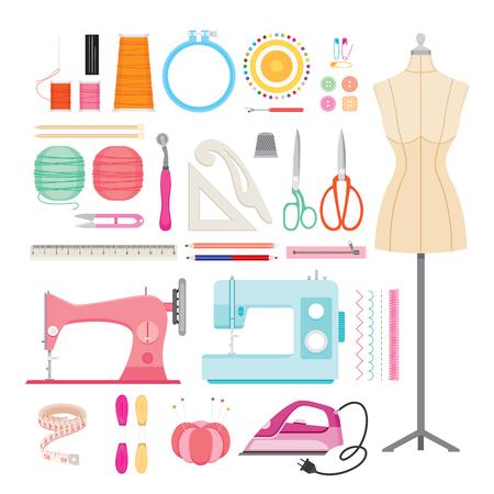 darn: Sewing Kits Icons Set, Needlework, Tailor, Handmade, Dressmaking, Housekeeper, Hobby Illustration