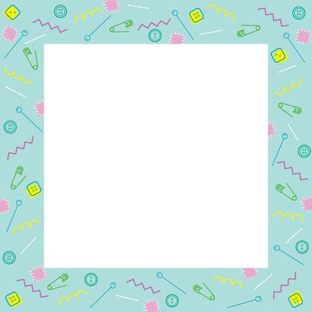 darn: Sewing Kits Outline Icons Border, Needlework, Tailor, Handmade, Dressmaking, Housekeeper, Hobby