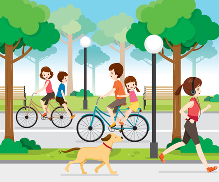 travel destination: Family Riding Bicycle in Public Park, Vacations, Holiday, Travel Destination, Journey Trips, Transportation and Lifestyle