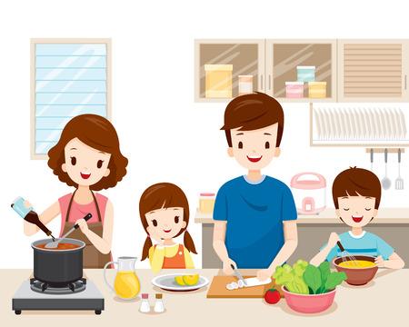 Familia feliz cocinando comida en la cocina juntos, utensilios de cocina, vajilla, casa, hogar, habitación