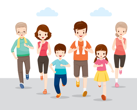 Happy Family Running Together For Good Health, Healthy, Activities, Physical Health, Sport, Daily Routine, Exercise, Lifestyle