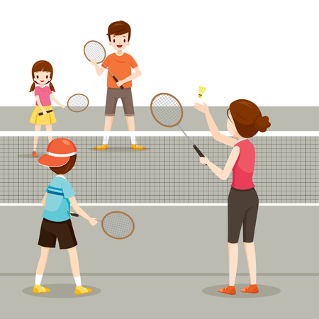family playing: Family Playing Badminton For Good Health, Healthy, Exercise, Sport, Activity, Body, Vacations, Holiday, Relationship
