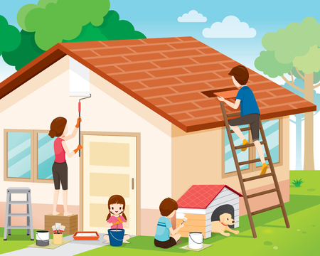 roof: Father, Mother, Son And Daughter Repairing Home Exterior, Housework, Appliance, House, Domestic Tools, Spring Season