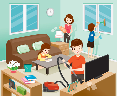 Father, Mother, Son And Daughter Cleaning Home Together, Housework, Appliance, House, Domestic Tools, Spring Season