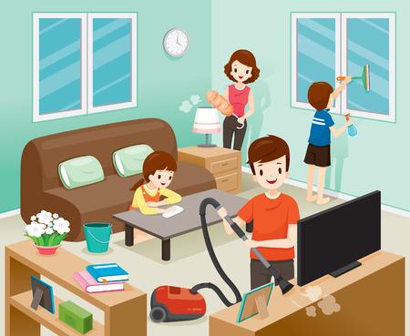 Père, mère, fils et fille de nettoyage à la maison ensemble, travaux ménagers, appareils ménagers, maison, outils domestiques, saison de printemps