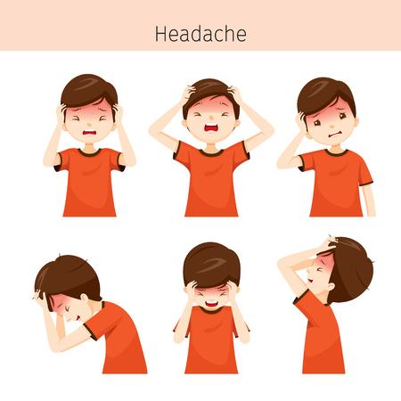 Boy With Different Headache Actions, Head, Brain, Internal Organs, Body, Physical, Sickness, Anatomy, Health Illustration