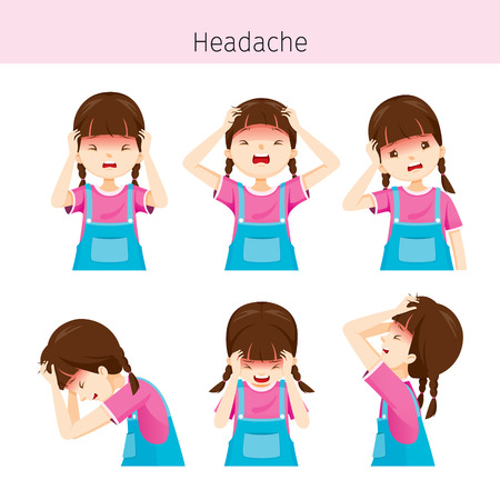 Menina, com, diferente, dor de cabeça, ações, cabeça, cérebro, interno, órgãos, corporal, físico, doença, anatomia, saúde
