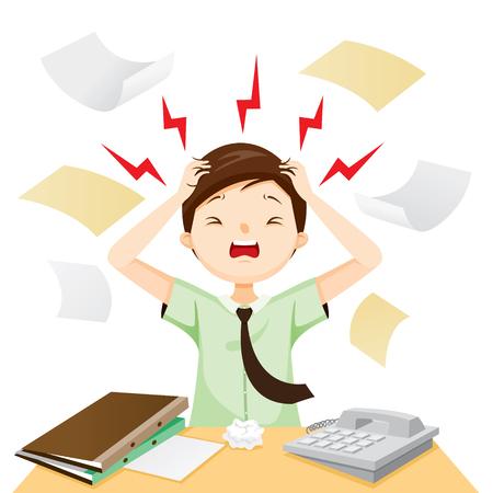 Hombre de negocios terrible dolor de cabeza con su trabajo, cabeza, cerebro, órganos internos, cuerpo, físico, enfermedad, anatomía, salud Ilustración de vector