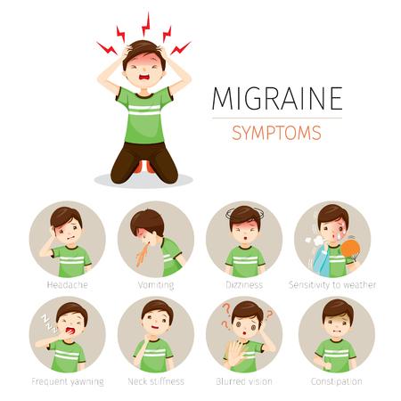 Hombre joven con conjunto de iconos de síntomas de migraña, cabeza, cerebro, órganos internos, cuerpo, físico, enfermedad, anatomía, salud Ilustración de vector