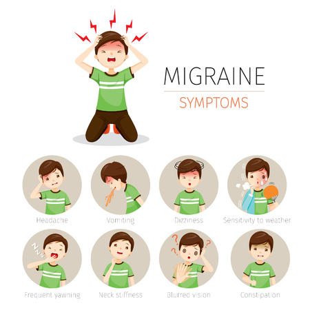 Young Man With Migraine Symptoms Icons Set, Head, Brain, Internal Organs, Body, Physical, Sickness, Anatomy, Health