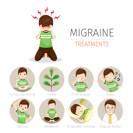 Young Man With Migraine Treatment Icons Set, Head, Brain, Internal Organs, Body, Physical, Sickness, Anatomy, Health Vectores