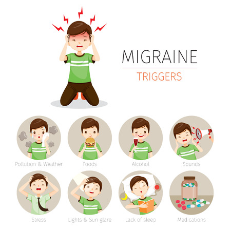 Young Man With Migraine Triggers Icons Set, Head, Brain, Internal Organs, Body, Physical, Sickness, Anatomy, Health