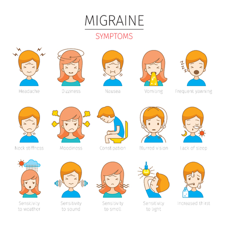 Migraine Symptoms Icons Set, Head, Brain, Internal Organs, Body, Physical, Sickness, Anatomy, Health Illustration