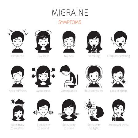 Migraine symptomen Icons Set, zwart-wit, hoofd, hersenen, interne organen, lichaam, fysieke, ziekte, anatomie, gezondheid Stock Illustratie